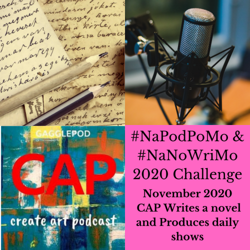 podcast microphone, paper with cursive writing, CAP logo