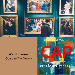 man standing in front of paintings on a wall in a gallery, CAP logo