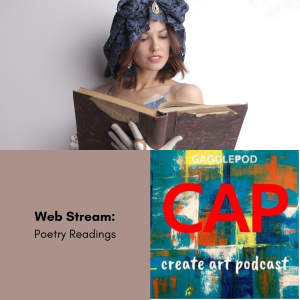woman reading poem with CAP logo