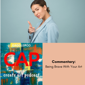 woman in blue blazer pointing at viewer, Create Art Podcast logo and title of episode